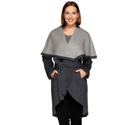 H by Halston Double Face Shawl Collar Coat - A2716