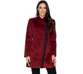 H by Halston Long Sleeve Coat with Faux Suede Deta