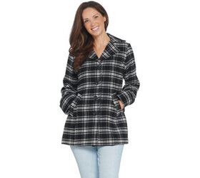 """""""As Is"""" Joan Rivers Button Front Plaid Swing Coat"""
