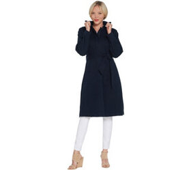 """""""As Is"""" H by Halston Denim Zip Front Trench Coat w"""