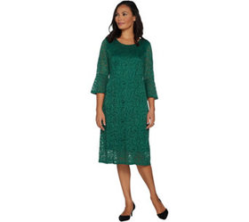 """""""As Is"""" Dennis Basso Stretch Lace Fit and Flare Dr"""