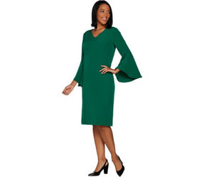 """""""As Is"""" Belle by Kim Gravel V-Neck Dress with Bell"""