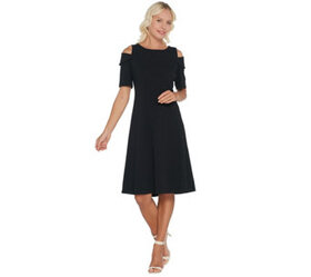 Dennis Basso Luxe Crepe Off the Shoulder Dress w/