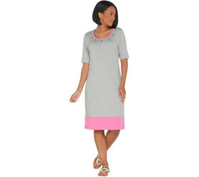 """As Is"" Quacker Factory Color- Blocked Dress with"