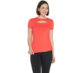 Susan Lucci Collection Cap Sleeve Tee w/ Peek A Bo