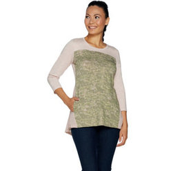 LOGO Lounge by Lori Goldstein French Terry Top wit