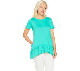 LOGO by Lori Goldstein Solid Knit Top with Drop Wa