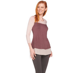 LOGO by Lori Goldstein Color-Block Top with Picot