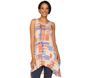 LOGO by Lori Goldstein Printed Knit Tank with Pock