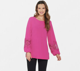 Dennis Basso Caviar Crepe Tunic with Lace-Trimmed