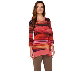 LOGO by Lori Goldstein Printed Knit Top with Chiff