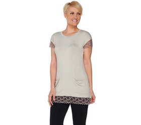 LOGO by Lori Goldstein Knit Top with Lace Trim and