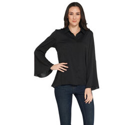 Joan Rivers Tulip Sleeve Button Front Blouse - A30