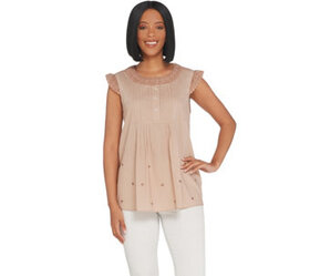 LOGO by Lori Goldstein Sleeveless Blouse with Lace