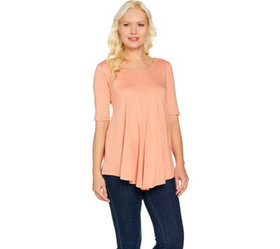 LOGO by Lori Goldstein V-Neck Swing Top with Pocke