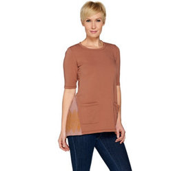 LOGO Lounge by Lori Goldstein Top w/ Woven Embroid