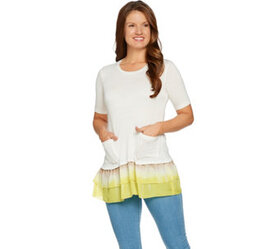 LOGO by Lori Goldstein Solid Top with Tie-Dye Wove
