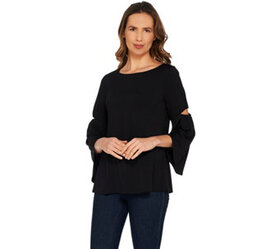 H by Halston Jet Set Jersey 3/4 Sleeve Top with Cu