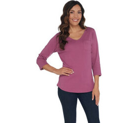 Denim & Co. Essentials Modern Fit Knit Top with Po