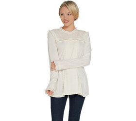LOGO by Lori Goldstein Cotton Modal Top with Swiss