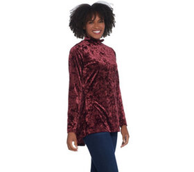 Isaac Mizrahi Live! Crushed Velvet Mock-Neck Top w