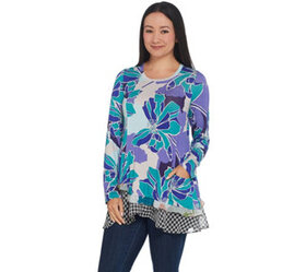 LOGO by Lori Goldstein Mixed Print Knit Top with A