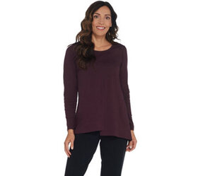 LOGO by Lori Goldstein Cotton Slub Knit Top with A