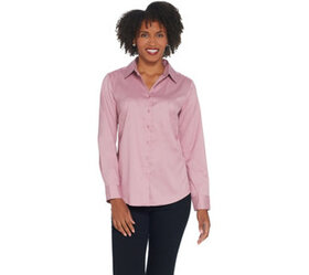 Denim & Co. Wrinkle Resistant Button Front Shirt -