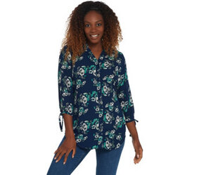 Joan Rivers Floral Print Tunic Top with Bow Sleeve