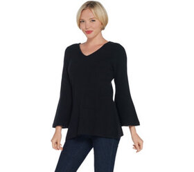 H by Halston Ribbed V-Neck Bell Sleeve Pullover Sw