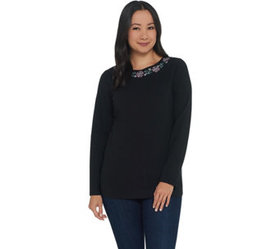Denim & Co. Perfect Jersey Boatneck Long- Sleeve T