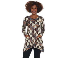 LOGO by Lori Goldstein Printed Knit Top with Asymm
