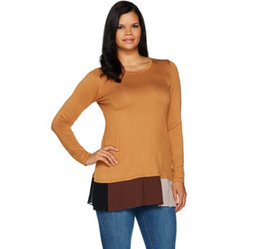 LOGO by Lori Goldstein Solid Knit Top w/ Contrast