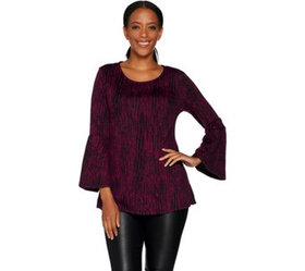 H by Halston Knit Jacquard Scoop Neck Bell Sleeve