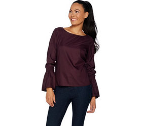 G.I.L.I. Long Sleeve Woven Top w/ Bell Sleeves - A