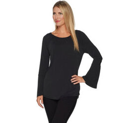 Kelly by Clinton Kelly Knit Top with Bell Sleeves