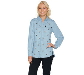 "C. Wonder Embellished Button Front ""Carrie"" Blouse"