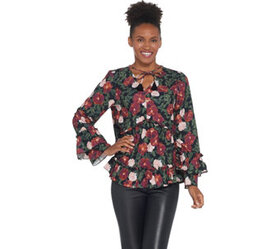 Kelly by Clinton Kelly Printed Woven Top with Ruff