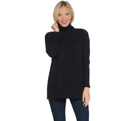 Lisa Rinna Collection Brushed Hacci Mock-Neck Top