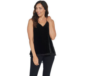 Lisa Rinna Collection Velvet Tank with Chiffon Tri