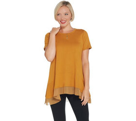 LOGO by Lori Goldstein Short-Sleeve Knit Top with