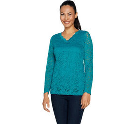 """""""As Is"""" Susan Graver Stretch Lace V-Neck Long Slee"""