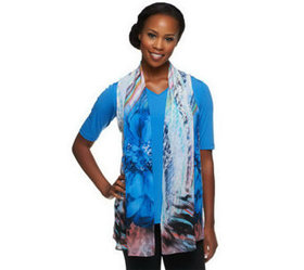 """""""As Is"""" Susan Graver Liquid Knit V-Neck Top with P"""