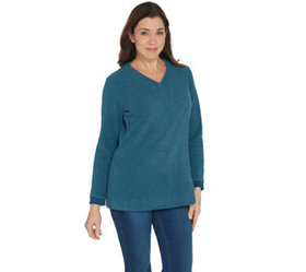 """As Is"" Denim & Co. Regular Chenille Fleece V-Neck"