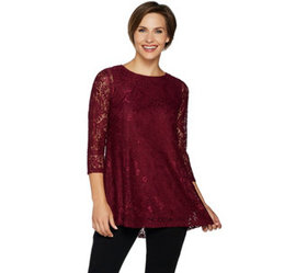 """""""As Is"""" Joan Rivers Lace Tunic with 3/4 Sleeves -"""