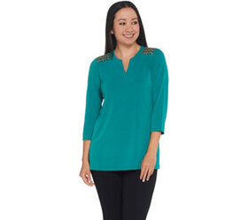 """""""As Is"""" Susan Graver Artisan Liquid Knit Top with"""