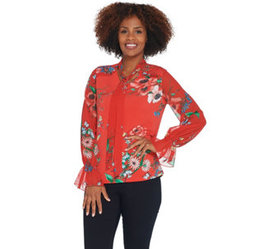 """""""As Is"""" Susan Graver Printed Liquid Knit Top with"""