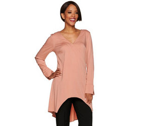 """""""As Is"""" H by Halston Long Sleeve V-Neck Wrap Front"""