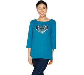 Quacker Factory Heart Sequin T-shirt with Bateau N