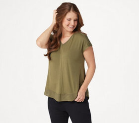 H by Halston Extended Shoulder V-Neck Top with Sid
